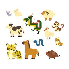 動物 十二支 イラスト セット