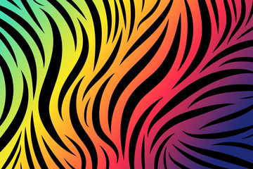 Zebra print abstract background , tiger stripes, colorful vector illustration. Poster, banner.