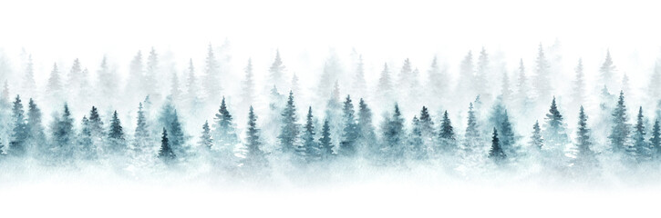 Photo on textile frame White Seamless pattern with foggy spruce forest. Fir trees isolated on white background.