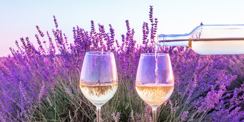 Keuken foto achterwand Lavendel Lavender wine panorama. White wine poured from a bottle into glasses against a lavender field background