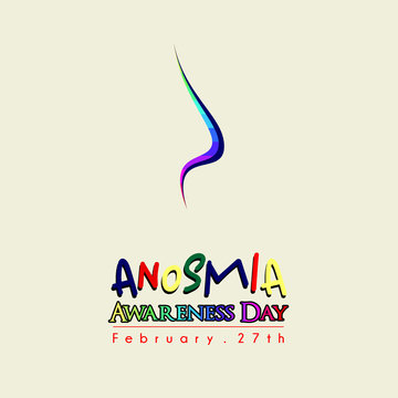 Anosmia Awareness day on February 27th with Colored Nose Line art cartoon Concept Design