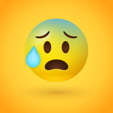 Stressed emoji with yellow face, small, open eyes, a slight frown, and furrowed eyebrows, with pale blue forehead and a single bead of sweat drop, as if from concern or anxiety