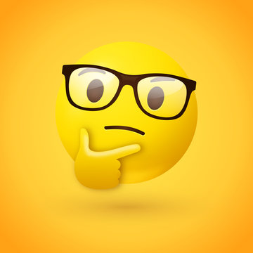 Clever or nerdy thinking face emoji - emoticon face wearing glasses shown with a single finger and thumb resting on the chin glancing upward on yellow background