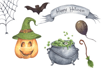 Watercolor Halloween set. Holiday illustration for design. In the picture: pumpkin, cauldron, potion, broom, air balloon, spider web, bat.