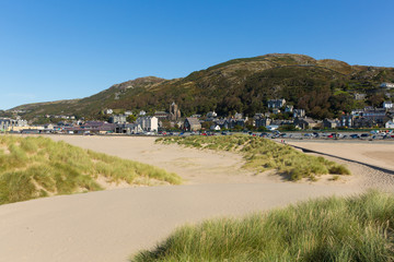 Wall Mural - Barmouth beach and sand dunes and town north west Wales UK Snowdonia