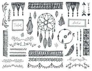 Vector decor set, collection of hand drawn doodle boho style dividers, borders, arrows, design elements, dream catchers. Isolated. May be used for wedding invitations, birthday cards