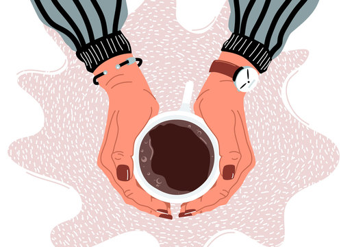 Female hands holding coffee cup flat vector illustration