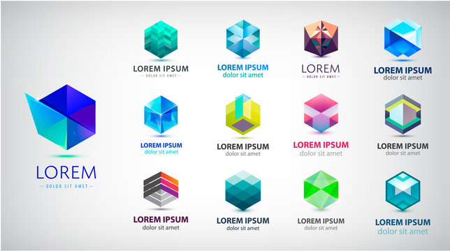Vector set of abstract 3d logos, geometric, hexagon shape collection
