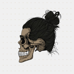 Skull with black hair wrapped in a bun. Stylish men's hairstyle, profile view. Picture for halloween, barbershop and clothes.