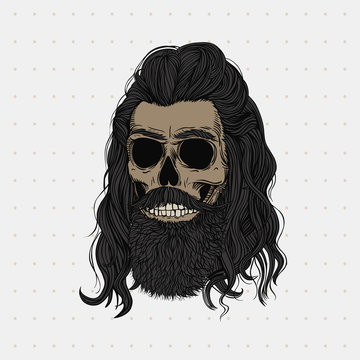 Bearded skull with long black hair. Stylish men's hairstyle and beard. Picture for halloween, barbershop and clothes.