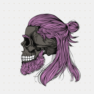 Bearded skul with long hair wrapped in a bun. Stylish men's hairstyle  and beard, profile view. Picture for halloween, barbershop and clothes.