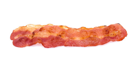 Cooked bacon rashers isolated on white