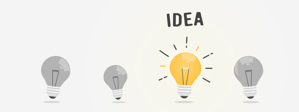 Abstract vector flat design lightbulb idea icon