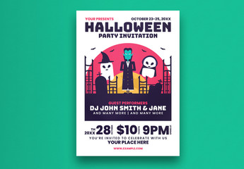 Halloween Party Flyer Layout with Vampire Illustration