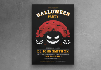 Halloween Party Flyer Layout with Pumpkin Head Illustration
