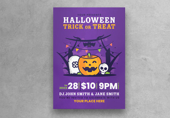 Halloween Party Flyer Layout with Purple Background