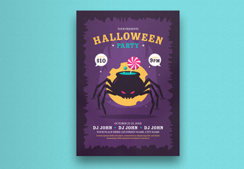 Halloween Party Flyer Layout with Spider Illustration