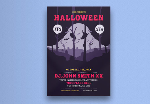 Halloween Party Flyer Layout with Ghost Forest Illustration