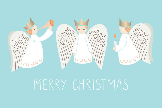 Whimsical Christmas Scandinavian Style Angels on Aqua Background Vector Merry Christmas Card