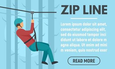 Forest zip line concept banner. Flat illustration of forest zip line vector concept banner for web design