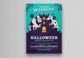 Halloween Party Flyer Layout with Ghost Castle Illustration
