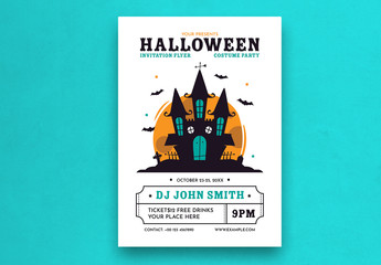 Halloween Party Flyer Layout with Horror Castle Illustration