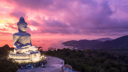 Poster Candy roze Aerial view Big Buddha at twilight, Big Buddha landmark of Phuket, Phukei Island, Thailand.