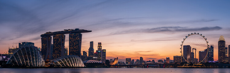 Photo sur Toile Singapoure Wide panorama of Singapore cityscape