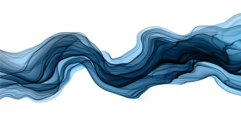 Abstract brush paint with liquid fluid wave flowing in navy blue colors isolated on white background