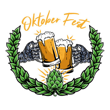 skeleton hands holding beer glass and cheers for oktober fest vector illustration