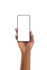 Fototapeta Black female hand holding smartphone with blank screen obraz