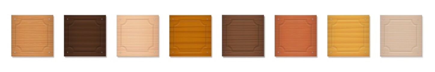 Wooden badges, square format nameplates, blank nametags. Collection with different colors and textures from various trees - brown, dark, gray, light, red, yellow, orange - vector on white background.