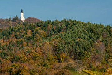 A small church atop a hill in the forest colored by the typical autumn colors of Zrece, Slovenia