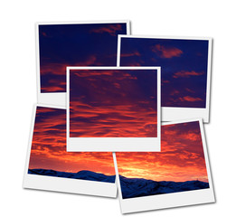 Sunset with Mountains in Wilderness Sky Clouds Film Frames