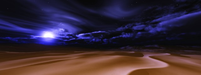 Fototapeten Schwarz Desert at night under the moon. Desert night landscape with the moon and clouds. .