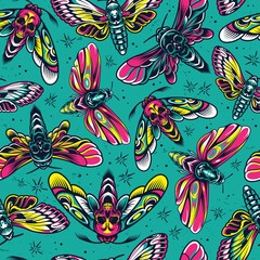 Poster de jardin Artificiel Vintage colorful insects seamless pattern