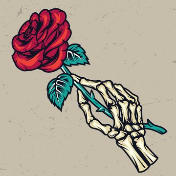 Colorful skeleton hand holding beautiful rose