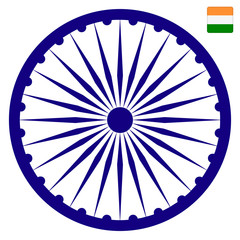 indian ashok chakra. 15 august Independence Day in India. Vector illustration