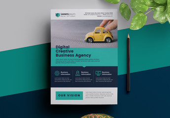 Corporate Flyer Layout with Colorful Bars