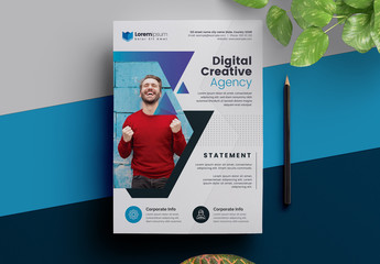 Corporate Flyer Layout with Geometric Photo Mask