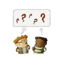 Illustration of two thinking small kids with question signs over their heads. isolated