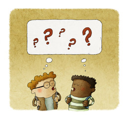 Illustration of two thinking small kids with question signs over their heads.