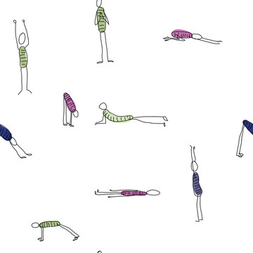 Doodle stick figure seamless repeat with person exercising various different yoga poses training. Vector.