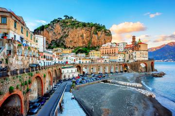 Atrani Old town and beach on Amalfi coast, Naples, Italy