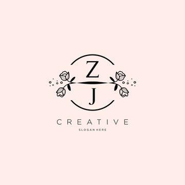 Flower ZJ Letter Logo Template Vector