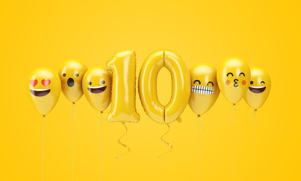 Number 10 yellow birthday emoji faces balloons. 3D Render