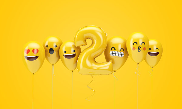Number 2 yellow birthday emoji faces balloons. 3D Render