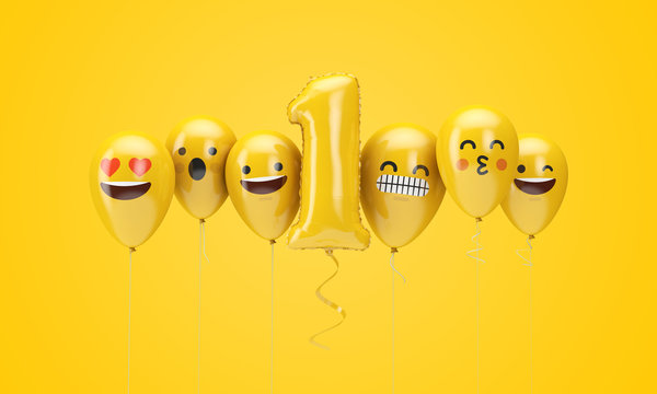 Number 1 yellow birthday emoji faces balloons. 3D Render