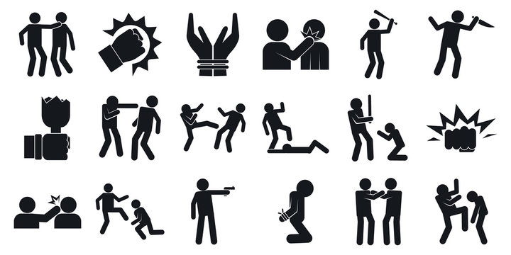 Violence icons set. Simple set of violence vector icons for web design on white background