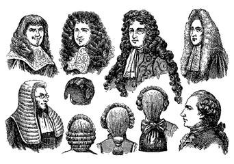 Vintage engraving of men earing wigs